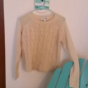 Forever 21 Ivory Sz S Cable knit Sweater